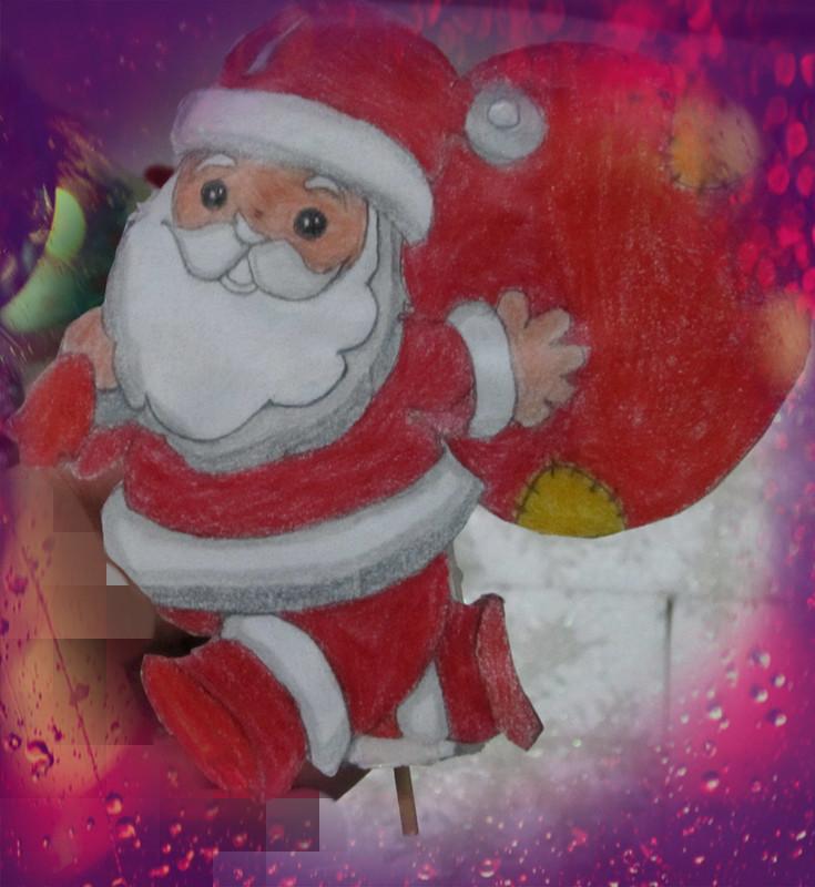 【圣诞节手工作品】+一幅立体的圣诞老人送礼物画+sphia