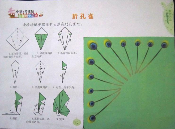 幼儿园的手工折纸——孔雀开屏