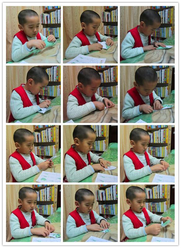 越来越喜欢折纸这项手工制作了,能大大的锻炼和提高小家伙的动手能力。折纸过程中,手指的协调性、灵活性还有对图例的理解力都能得到很大的锻炼。而且这还是一项考验耐心的游戏,每次折纸都是一次很折磨人的过程!一遍,一遍的,可小家伙似乎并不觉得是折磨,反而很是享受,尤其是当成品摆在面前时,那种成功的喜悦感,会清清楚楚的写在他的脸上!喜欢看这样的宝贝!  今天要说的折纸,也是幼儿园的手工作业!折一只美丽的孔雀!在开始折之前,我们依照原图,又做了两个,一个是宝贝做的,一个是我做的!然后宝贝先是看着步骤分解图,看妈妈折