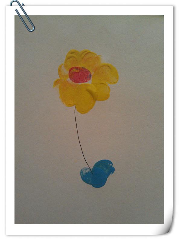 这是用颜料画的指印画,效果也不错.-创意美劳课 指印画