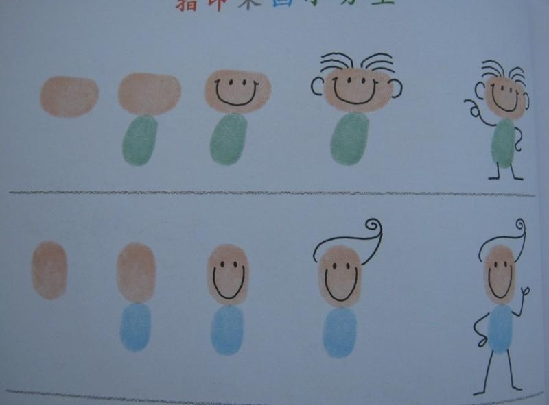 《阿彬叔叔的创意绘画课》之《指印画人物》 台湾人气美术教师阿彬叔叔的绘画课堂开课啦!他的创意绘画课涵盖了指印画、简笔画、卡通画、漫画每种画法都从零开始教起,让孩子们想画就画。   6月下旬,我们有幸读到《指印画人物》,我和儿子一起体验了指印画的乐趣,阿彬叔叔的绘画书以最简单的操作方式让孩子自由创意,不仅引导孩子启发想象力,这种玩中作画的亲子互动,更加促进了亲子感情。读之,真是受益匪浅。   经过一周的期盼,《指印画人物》拿在手上,小家伙心里乐开了花。   向阿彬叔叔以及出版社的叔叔阿姨们敬礼!  此