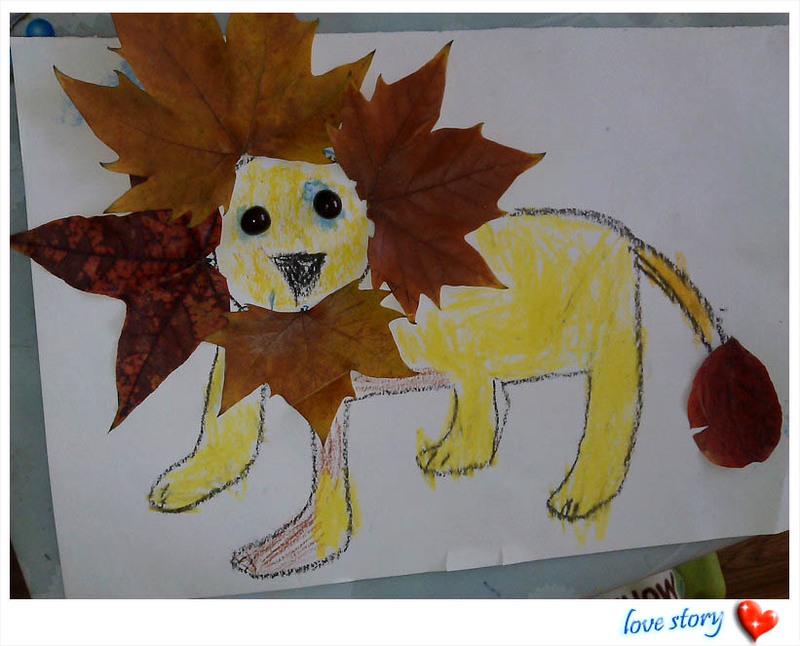 儿童手工制作落叶图