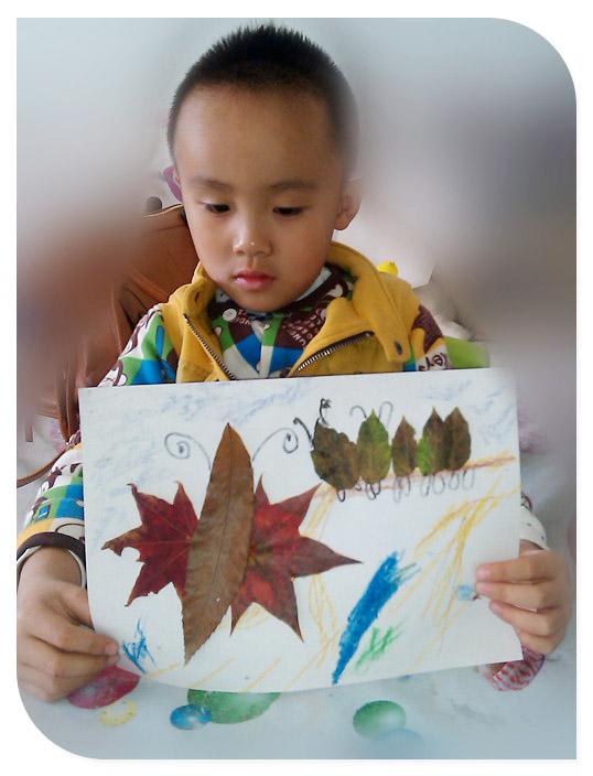 带宝做手工 树叶贴画
