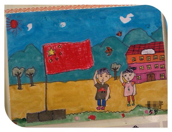 幼儿画红旗简单画
