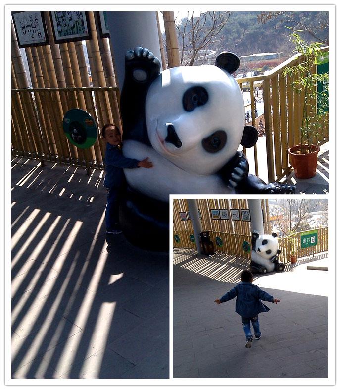 带谦在森林动物园游玩了散养区后又去了熊猫馆和热带雨林馆。当时小家伙竟然那里也不想看了,一心嚷嚷着要走,要会酒店区。好像这个动物园对谦的吸引力也不是很大的,最开始是很兴奋的,但是后来就越看越没劲的感觉了。为了哄着宝贝继续看完熊猫馆,妈妈特意给小家伙买了根雪糕吃,又吃的了,谦才乐呵呵的跟着妈妈继续前进。 大连熊猫馆位于大连森林动物园二期热带雨林馆东侧,与小动物村和游客服务中心相邻,占地面积约为10000平方米,总建筑面积约为2000平方米。该馆共分室外展示区、室内展示区、室内笼舍、后勤区4个功能区。其中,室
