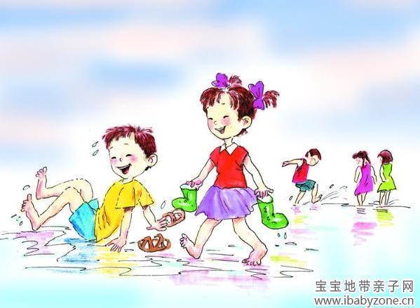 孩子玩水卡通图片