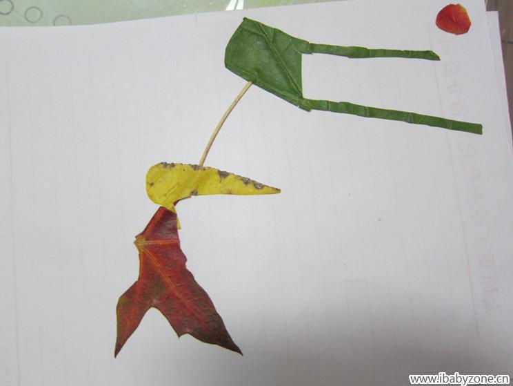 亲子手工——树叶粘贴画