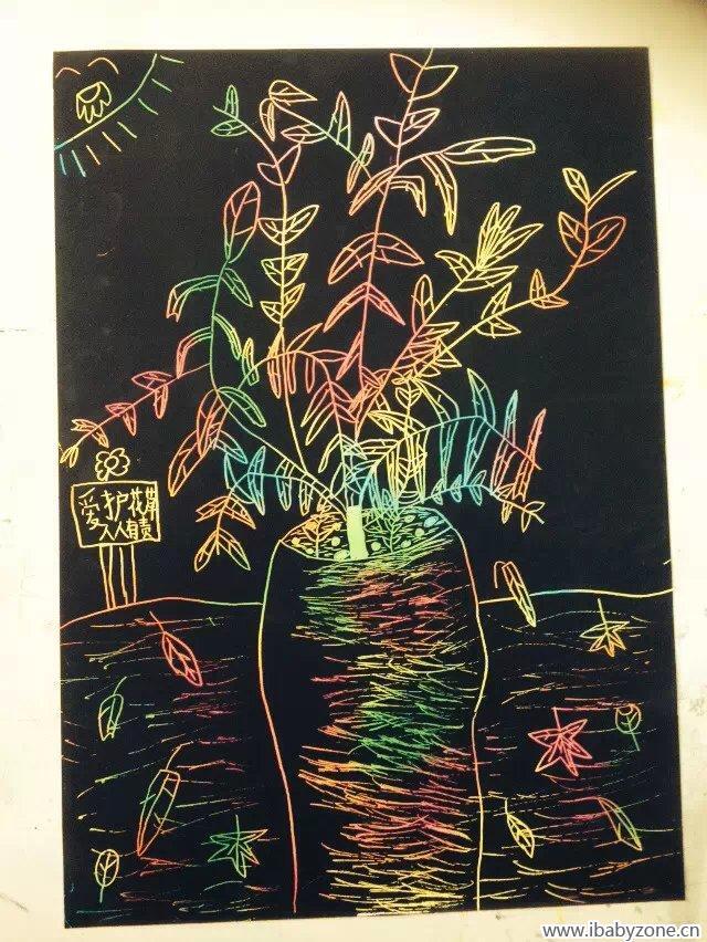 我说让她制作一张家庭树的画